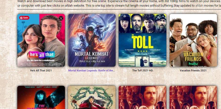 Afdah Movies Menus and Categories(Genres)